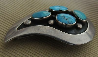 Southwestern Frank Patania Paisley Pin Sterling Silver .925 Blue Gem Turquoise