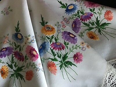 Gorgeous Vintage Linen Hand Embroidered Tablecloth ~ Raised Florals/lace