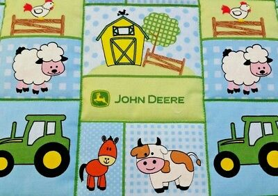 """LAST ONE AVAILABLE! HANDMADE""""JOHN DEERE"""" BOYS  COTTON 35X43in BABY/TODDLER QUILT"""