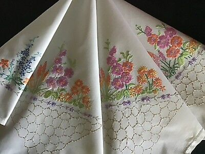 Gorgeous Vintage Hand Embroidered Tablecloth ~ Floral Gardens