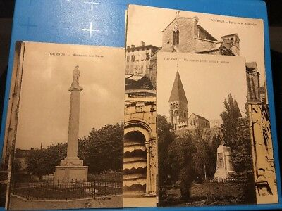 Lot 13 CPA Tournus Monuments Morts Jardin Eglise Rue Abbaye