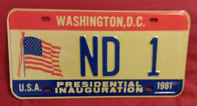 1981 District Of Columbia Nd-1 North Dakota Inaugural License Plate
