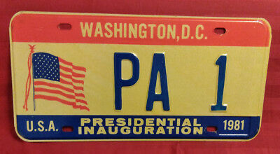 1981 District Of Columbia Pa-1 Pennsylvania Inaugural License Plate