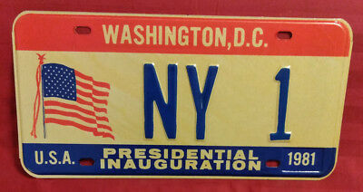 1981 District Of Columbia Ny-1 New York Inaugural License Plate