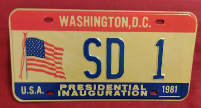 1981 District Of Columbia Sd-1 South Dakota Inaugural License Plate