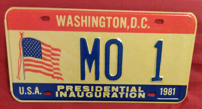 1981 District Of Columbia Mo-1 Missouri Inaugural License Plate