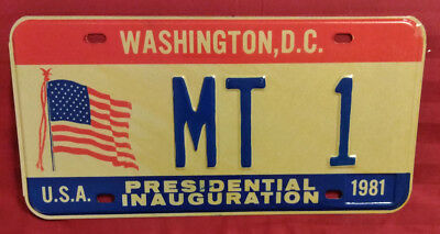 1981 District Of Columbia Mt-1 Montana Inaugural License Plate