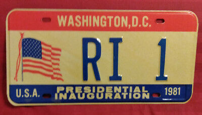 1981 District Of Columbia Ri-1 Rhode Island Inaugural License Plate