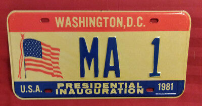 1981 District Of Columbia Ma-1 Massachusetts Inaugural License Plate