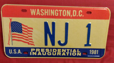 1981 District Of Columbia Nj-1 New Jersey Inaugural License Plate