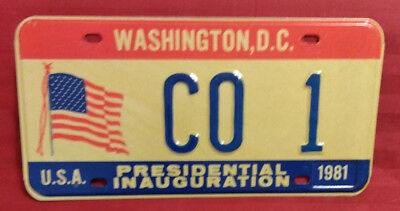 1981 District Of Columbia Co-1 Colorado Inaugural License Plate