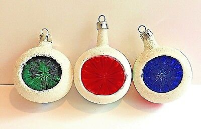 Glitter Indent Glass Christmas Ornaments Vntg Poland White Red Green Pink Gold