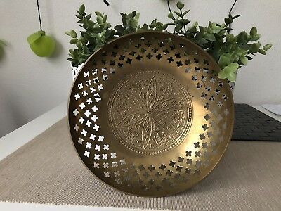 VINTAGE Indian Carved BRASS BOWL for FRUIT, NUTS 19.5cm diameter collectable