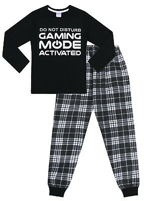 Do Not Disturb Gaming Mode Activated Long Pyjamas 11 to 16 Years Check Woven