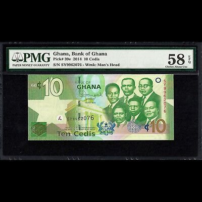 "Bank of Ghana 10 Cedis 2014 ""Big Six"" PMG 58 Choice About UNC P-39e"