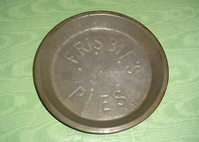 Original FRISBIE'S PIES Embossed Tin Tray Plate w 6 Holes In Center Now Frisbee