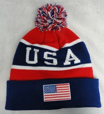 USA Team Beanies Flag Winter Olympics Toboggan American Patriotic Colors  Hat New 95746dc4f6f