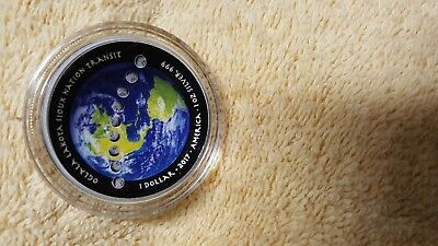 2017 American solar eclipse, 1 oz fine silver proof coin, colorized and curved