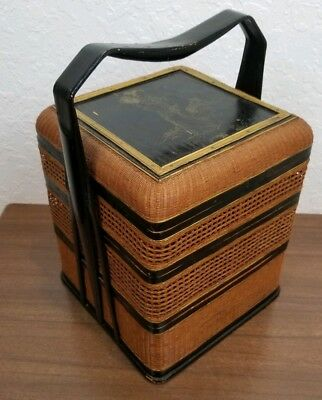 Vintag Chinese 3 Tier Lunch Food Basket