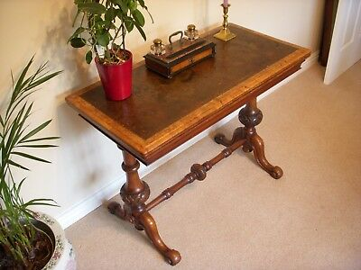 Antique Writing/ Games/ Side Table,walnut With Leather Inlaid Top, Carved Legs
