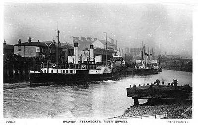 Ipswich Paddle Steamer River Orwell  RP old postcard used 1910 Rapid