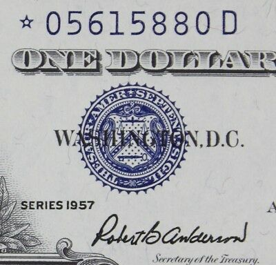 $1 1957 STAR *D GEM Silver Certificate *05615880D KEY Plain Series, FREE SHIP.