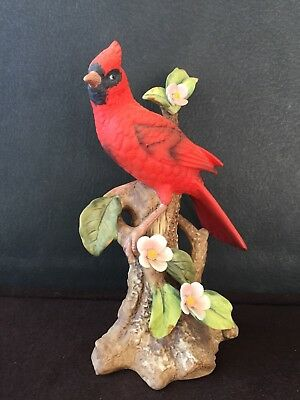 Lefton Red Cardinal Figurine In Tree Flowers Original Lefton Tag Vintage