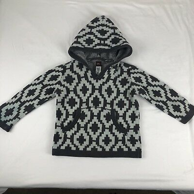 Tea Collection Toddler Gray Hooded Knit Sweater Size XS (2-3) Cotton