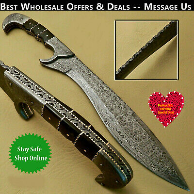 Beautiful Custom Hand Made Damascus Kukuri Sword Knife Handle Ram Horn
