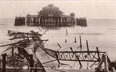 Wreck of Worthing Pier March 22nd 1913 unused RP pc Wardell