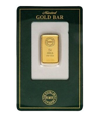 """New Sealed""Gold Bar 5 gms 999.9 Royal Mint with certicate number"
