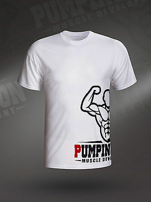 Fitness Workout Gym Muscle T-Shirt Bodybuilding Mens PIMD Lifestyle White Tee