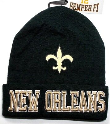 READ LISTING! New Orleans Saints Flat Logo on 3D Embroidered Beanie Knit Cap hat