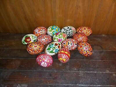 Lot of 14 Vintage Real Egg Shell Hand Painted Pysanky Russian Easter Eggs