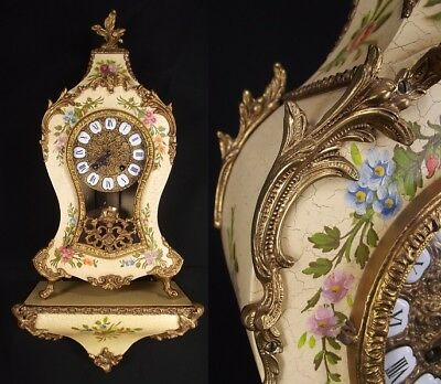 GERMAN mantel clock FRANZ HERMLE with shelf NUECHATEL BOULLE BEAUTIFUL! 25""