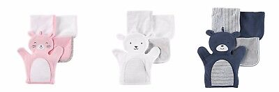 Carter's Baby 4-pack Washcloths Set, Cute Wash Mitten - Please Choose