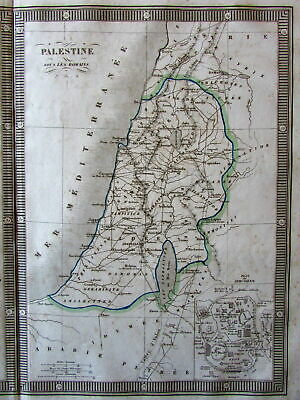 Ancient Palestine Holy Land 12 Tribes Romans era 1834 Monin lovely large old map