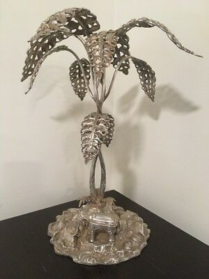 Antique Rare Silverplated Table Center Elephant Under Tree ~ Very Good Condition