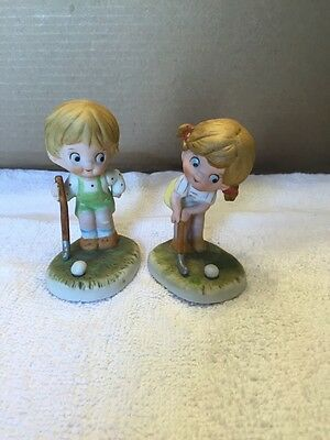 Vintage Pair Of Lefton China Little Boy And Girl Playing Golf Figurines