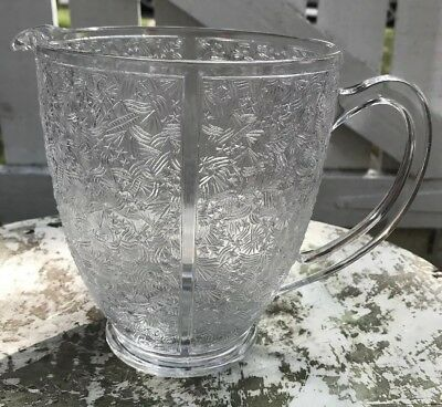 Large Vintage French Glass Jug - Clear Patterned Glass  16cm