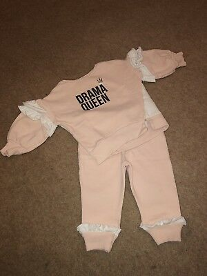 River Island Mini Girls Tracksuit Drama Queen 12-18 Months Pink And White