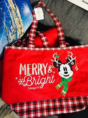 New Disney Parks Mickey Mouse Holiday Christmas Tote Bag
