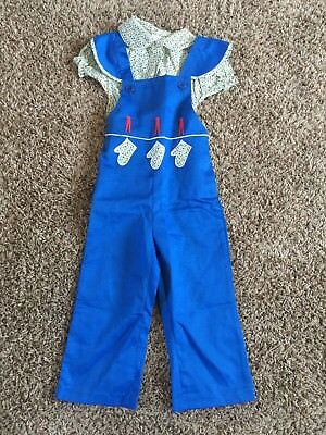 THOMAS girl 4 blue romper bib overall flower shirt clothesline VTG NOS NEW 1980s