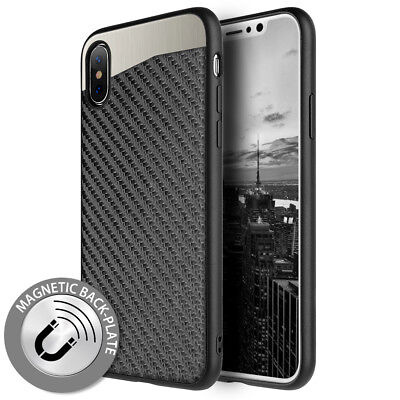 "For iPhone XR (6.1"") - Black Carbon Fiber Case Hybrid Magnetic Back Plate Cover"
