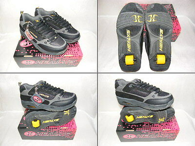 Healeys Wheeled Trainers Adult Size 8 Black And Yellow Boys Or Girls - Eur 42