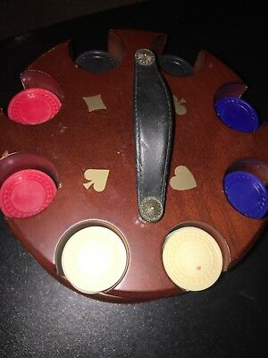 Wood Carousel Swivel Caddy w / Poker Chips by Bombay Co Rotating Nice !