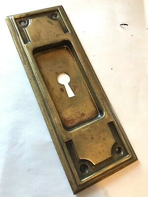 Antique Mission Arts Craft Deco Victorian Brass Pocket Barn Door Pull Plate