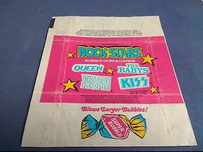 Rock Stars wax bubblegum card wrapper by Donruss 1979 Queen Kiss Village People