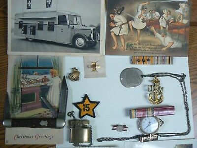 Named WW2 Medals other Lot Thumbprint Dog Tag Chief Petty Knife Lighter Sterling