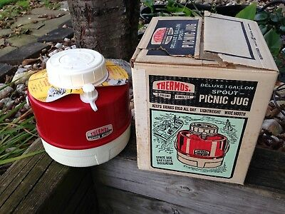 Vintage 1970s Thermos Picnic Water Jug Red/White 1 Gallon w/ original box